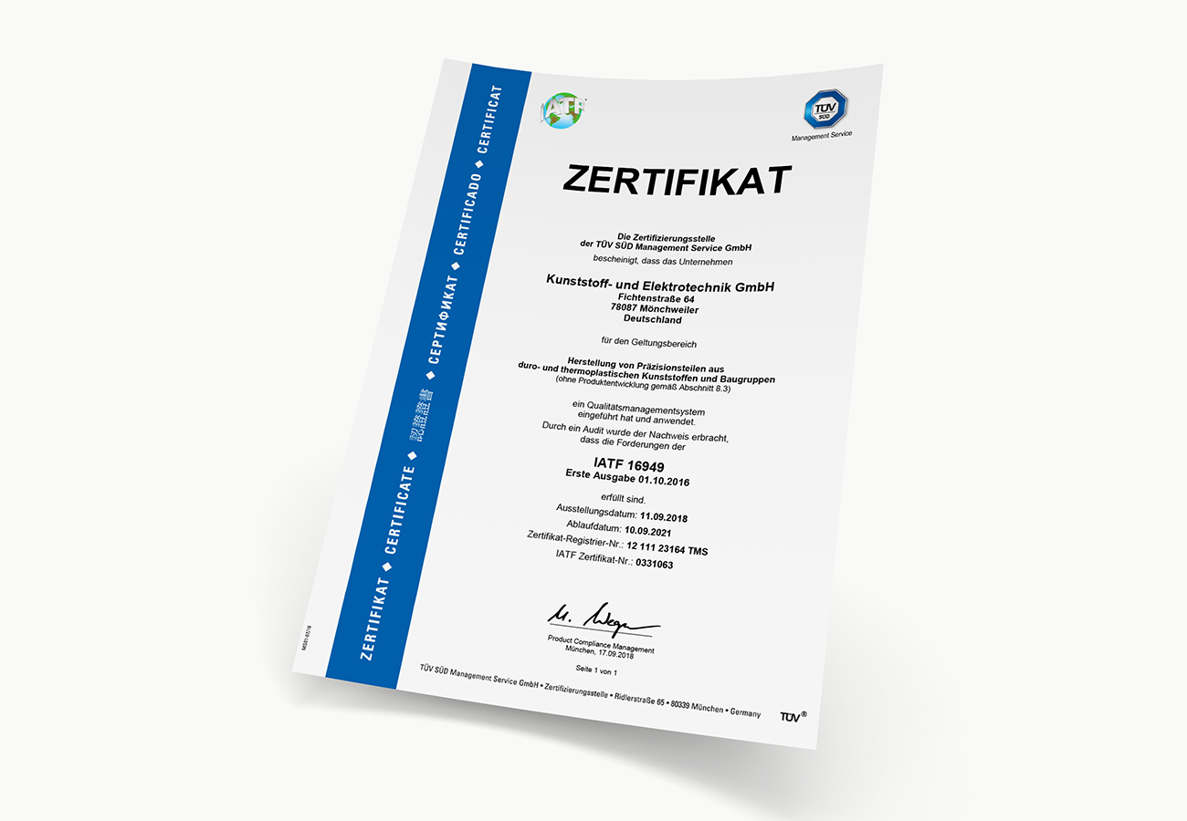 Zertifikat IATF 16949 (DE)
