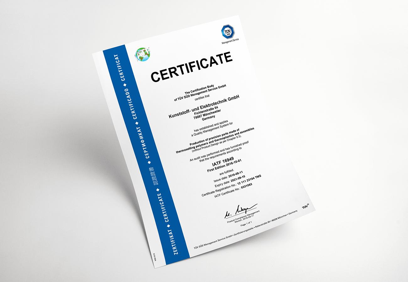 Zertifikat IATF 16949 (EN)