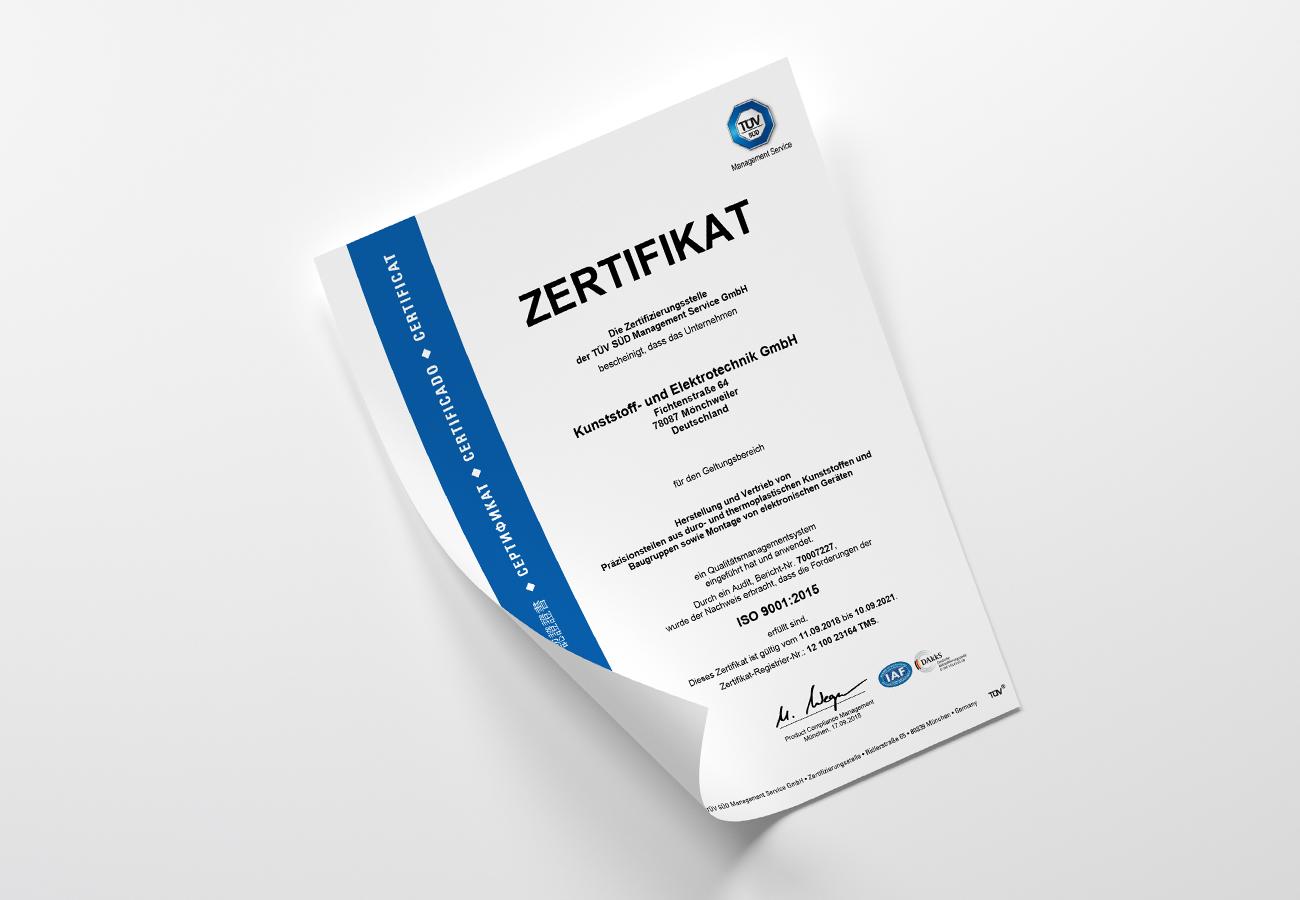 Zertifikat ISO9001 2015
